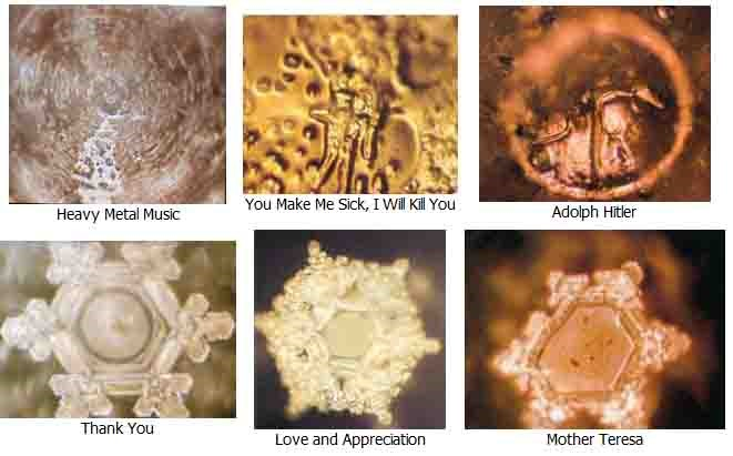 Images of D. Emoto's research on the power of words on water crystals.
